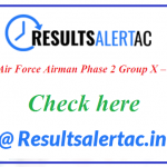 Indian Air Force Airman Phase 2 Group X – Y Result 2021- CASB Exam Merit List