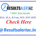 VMOU Kota Results 2021 Out: B.A., B.Sc, M.A., B.Com, M.Sc 2019-2020 Results Part 1-2-3 (Results Declared)